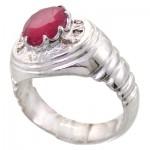 انگشتر یاقوت سرخ دور الماس مردانه درشت فاخر _کد:11797