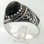 انگشتر عقیق سیاه (اونیکس) مردانه خوشرنگ سیاه قلم _کد:11906