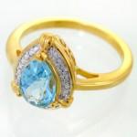 انگشتر توپاز و الماس زنانه مانی ایتالیایی مدل اشکی _کد:12082