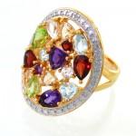 انگشتر چند جواهر زنانه مانی ایتالیایی درشت فاخر و مرغوب _کد:12093
