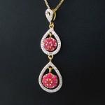 گردنبند یاقوت سرخ سیلان زنانه مانی ایتالیایی مدل دو آویز _کد:12101