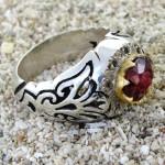 انگشتر یاقوت سرخ سیلان و الماس مردانه درشت فاخر و باشکوه _کد:1736