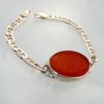 دستبند عقیق یمنی سنتی با حکاکی صلوات خط زیبای عابد _کد:1742