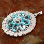 گردنبند توپاز و الماس زنانه مانی ایتالیایی مدل لیلیان _کد:12303