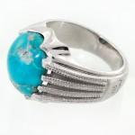انگشتر فیروزه نیشابوری شجری مردانه درشت خاص خوش رنگ و اعلا _کد:12413