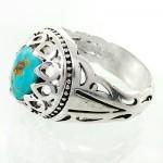 انگشتر فیروزه نیشابوری شجری مردانه دور اشکی زیبا _کد:12455