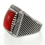 انگشتر عقیق قرمز مردانه درشت شیاردار کلاسیک _کد:12612