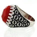 انگشتر عقیق قرمز مردانه درشت تراش خاص _کد:12613