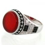 انگشتر عقیق قرمز مردانه درشت زیبا و خاص _کد:12637