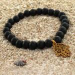 دستبند عقیق سیاه (اونیکس) مات کف العباس _کد:12643
