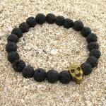 دستبند سنگ آتشفشان طرح جمجمه _کد:12644