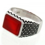 انگشتر عقیق قرمز مستطیلی مردانه زیبا و کلاسیک _کد:12648