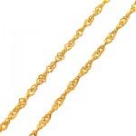 زنجیر نقره ایتالیایی روکش آب طلا مدل گندم 45 سانتی _کد:12707