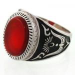 انگشتر عقیق قرمز مردانه طرح رومی زیبا و خاص _کد:12715