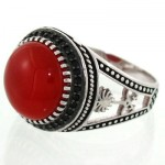 انگشتر عقیق قرمز مردانه خاص و زیبا مدل نخل و شمشیر _کد:12719