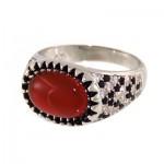 انگشتر عقیق قرمز مردانه خوشرنگ نگین دار _کد:12727