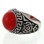 انگشتر عقیق قرمز مردانه خوشرنگ اسلیمی _کد:12761