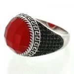 انگشتر عقیق قرمز مردانه نگین تراش دار _کد:12785