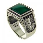 انگشتر عقیق سبز درشت و سنگین میکرو جام پارسی _کد:12823