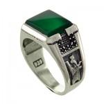 انگشتر عقیق سبز میکروستینگ سرباز پارسی _کد:12897