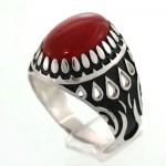 انگشتر عقیق قرمز مردانه دور چنگ مدل اشک _کد:12901