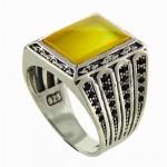 انگشتر عقیق شرف الشمس میکرو مردانه درشت و سنگین _کد:12904