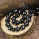 تسبیح عقیق سیاه (اونیکس) 33 دانه ای درشت و سنگین تراش دار _کد:12911