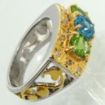 انگشتر چند جواهر الماس، توپاز و زبرجد فاخر مردانه