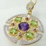 گردنبند چند جواهر درشت آمتیست، زبرجد و الماس