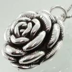 گردنبند نقره زنانه گل رز سه بعدی