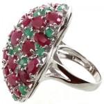 انگشتر چند جواهر یاقوت سرخ و زمرد طرح برهون درشت زنانه