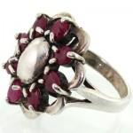 انگشتر یاقوت سرخ طرح گل درشت زنانه