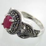انگشتر یاقوت سرخ زنانه مارکازیت رکاب برگی