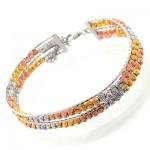 دستبند نقره النگویی پهن سه رنگ توپی