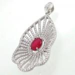 گردنبند نقره زنانه طرح یاقوت سرخ درشت