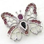 گردنبند چند جواهر زنانه یاقوت سرخ و کبود پروانه