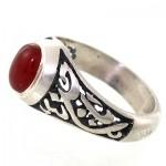 انگشتر عقیق قرمز مردانه رکاب یا حسین(ع) _کد:7591