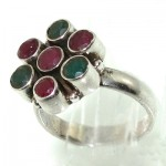 انگشتر چند جواهر یاقوت و زمرد زنانه _کد:7654
