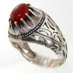 انگشتر عقیق قرمز مردانه کلاسیک شبکه ای _کد:7933