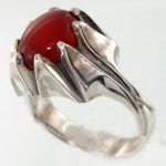 انگشتر عقیق قرمز مردانه تمام چنگی کلاسیک _کد:7936