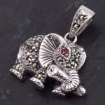 گردنبند یاقوت سرخ و مارکازیت مدل فیل