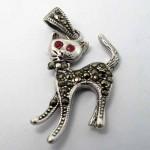 گردنبند یاقوت سرخ طرح گربه