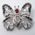 گردنبند چند جواهر پروانه یاقوت سرخ و کبود