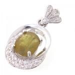 گردنبند یاقوت زرد عالی زنانه رودیوم لوکس _کد:8955