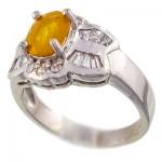 انگشتر یاقوت زرد خوشرنگ زنانه رودیوم لوکس مدل نوشا _کد:9502