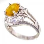 انگشتر یاقوت زرد عالی زنانه رودیوم لوکس مدل آفرین _کد:9505