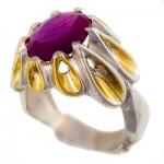 انگشتر یاقوت سرخ مرغوب مردانه درشت دور اشکی طلایی شکیل _کد:1334