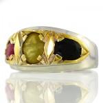 انگشتر چند جواهر یاقوت مردانه رادیوم لوکس سه نگین دور طلایی _کد:9581