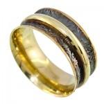 انگشتر نقره ایتالیایی حلقه ازدواج طلایی رینگی متحرک رودیوم لوکس _کد:9650