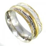 انگشتر نقره ایتالیایی حلقه ازدواج طلایی رینگی متحرک رودیوم لوکس _کد:9705